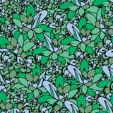 Modelo inconsútil del vector del cactus con Echeveria Diseño de la impresión de la tela de los cactus Superficie suculenta de la  stock de ilustración