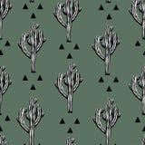 Modelo inconsútil del vector del cactus con el saguaro Fotos de archivo libres de regalías