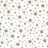Modelo inconsútil del vector del cielo estrellado, amarillo dibujado mano del ejemplo stock de ilustración