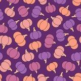 Modelo inconsútil del vector colorido con las calabazas púrpuras, rosadas, amarillas y anaranjadas Foto de archivo libre de regalías