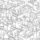 Modelo inconsútil del vector con arquitectura medieval Ciudad linda de la historieta stock de ilustración