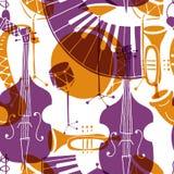 Modelo inconsútil del vector con concepto del jazz de los instrumentos de música ilustración del vector
