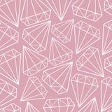 Modelo inconsútil del vector con contornos de los diamantes, gemas, cristales Dise?o escandinavo stock de ilustración