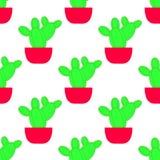 Modelo inconsútil del vector con el cactus Textura repetida brillante con el cactus verde en maceta stock de ilustración