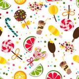 Modelo inconsútil del vector con el caramelo, dulces, chocolate, helado Imagen de archivo libre de regalías