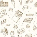Modelo inconsútil del vector con el chocolate Ejemplo para los menús, recetas ilustración del vector