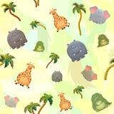 Modelo inconsútil del vector con el elefante, la jirafa, el cocodrilo, el hipopótamo y las palmeras Personaje de dibujos animados libre illustration