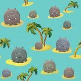 Modelo inconsútil del vector con el hipopótamo y las palmeras del hoppo Personaje de dibujos animados gordo lindo El concepto de  ilustración del vector