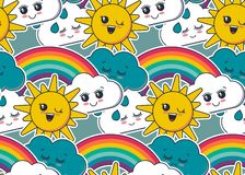 Modelo inconsútil del vector con el sol sonriente lindo, arco iris, nube, caras de la gota de lluvia ilustración del vector