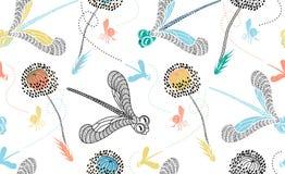 Modelo inconsútil del vector con la libélula exhausta de la mano linda, abeja y stock de ilustración