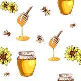 Modelo inconsútil del VECTOR con la miel dibujada mano en blanco Foto de archivo