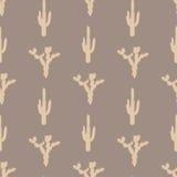 Modelo inconsútil del vector con la silueta del cactus Imagenes de archivo