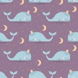 Modelo inconsútil del vector con las ballenas, la luna y las estrellas el dormir Bueno Imagenes de archivo