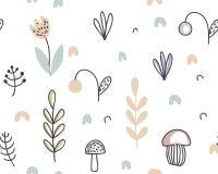 Modelo inconsútil del vector con las bayas exhaustas de la mano, plantas, flores, setas ilustración del vector