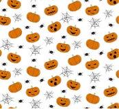 Modelo inconsútil del vector con las calabazas de Halloween Imagen de archivo