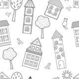 Modelo inconsútil del vector con las casas para el libro de colorear libre illustration