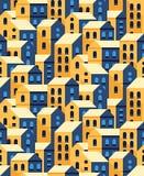 Modelo inconsútil del vector con las casas planas del estilo Foto de archivo libre de regalías