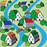 Modelo inconsútil del vector con las casas y los árboles libre illustration