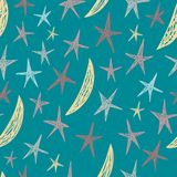 Modelo inconsútil del vector con las estrellas y las lunas dibujadas mano Fondo azul sin fin Imágenes de archivo libres de regalías