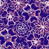 Modelo inconsútil del vector con las flores de la acuarela Fotografía de archivo