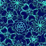 Modelo inconsútil del vector con las flores de la acuarela Fotografía de archivo libre de regalías