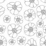 Modelo inconsútil del vector con las flores Gráfico de la mano Imagen de archivo libre de regalías