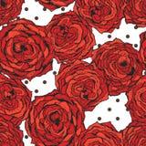 Modelo inconsútil del vector con las flores y los puntos rojos Fotografía de archivo