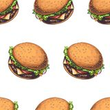 Modelo inconsútil del vector con las hamburguesas deliciosas aisladas stock de ilustración