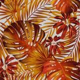 Modelo inconsútil del vector con las hojas de palma coloridas brillantes ilustración del vector