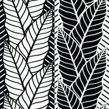Modelo inconsútil del vector con las hojas tropicales Fotos de archivo