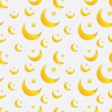 Modelo inconsútil del vector con las lunas y las estrellas, colores en colores pastel ilustración del vector