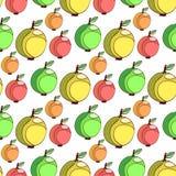 Modelo inconsútil del vector con las manzanas coloridas Fondo estilizado de las frutas Apple wallpaper Imágenes de archivo libres de regalías