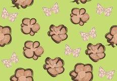 Modelo inconsútil del vector con las mariposas y las orquídeas libre illustration