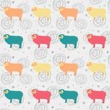 Modelo inconsútil del vector con las ovejas lindas Imagenes de archivo