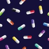 Modelo inconsútil del vector con las píldoras coloreadas Imágenes de archivo libres de regalías