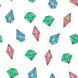 Modelo inconsútil del vector con las piedras preciosas, cristales stock de ilustración