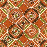 Modelo inconsútil del vector con las tejas geométricas adornadas con adornos florales stock de ilustración