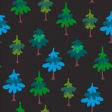 Modelo inconsútil del vector con los árboles verdes aislados en fondo oscuro Ejemplo natural exhausto de la mano con el bosque de fotografía de archivo libre de regalías