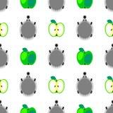 Modelo inconsútil del vector con los animales, fondo colorido con los erizos y manzanas verdes, sobre el contexto ligero Foto de archivo