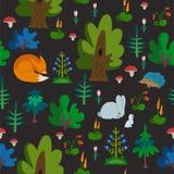 Modelo inconsútil del vector con los animales salvajes en textura exhausta de la mano del bosque con el zorro, el conejo y el eri imagenes de archivo