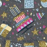 Modelo inconsútil del vector con los balones de aire, fuegos artificiales, confeti, torta de cumpleaños ilustración del vector