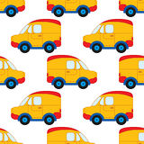 Modelo inconsútil del vector con los coches de la historieta Coche del juguete de los muchachos del vector Ejemplo inconsútil del Imagen de archivo