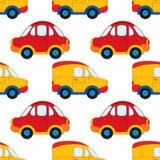 Modelo inconsútil del vector con los coches de la historieta ` S Toy Car del muchacho del vector Ejemplo inconsútil del vector de Fotografía de archivo libre de regalías