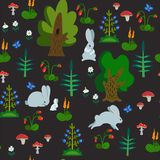 Modelo inconsútil del vector con los conejos en textura exhausta de la mano del bosque con los personajes de dibujos animados lin fotos de archivo libres de regalías