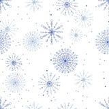 Modelo inconsútil del vector con los copos de nieve Fotografía de archivo libre de regalías