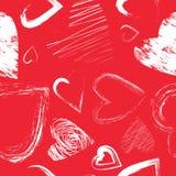 Modelo inconsútil del vector con los corazones caligráficos del cepillo Imagen de archivo