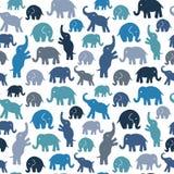 Modelo inconsútil del vector con los elefantes Fotos de archivo libres de regalías