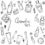 Modelo inconsútil del vector con los elementos de cosméticos libre illustration