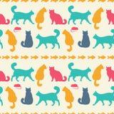 Modelo inconsútil del vector con los gatos Fotos de archivo libres de regalías
