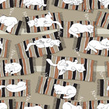 Modelo inconsútil del vector con los gatos el dormir fotos de archivo libres de regalías